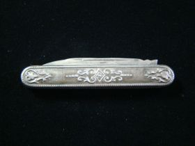 19th Century Engraved Coin Silver Fruit Pocket Knife