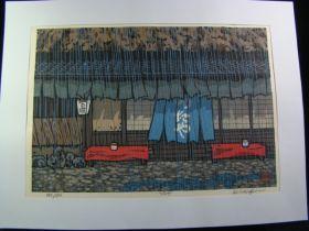 """Nishijima Katsuyuki """"Tsutaya"""" Woodblock Print Edition 393/500 c. 2010"""