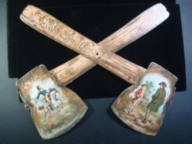 1882 Gillespie & Moodie NY Rare Intact Pair Of George Washington Toy Paper Axe's