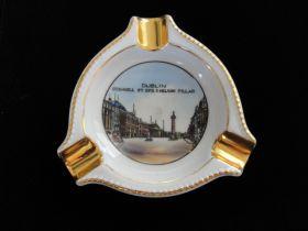Vintage Dublin Ireland O'Connell Street View Gilt Porcelain Ashtray