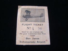 1934 Flight Ticket Used Ben Jones Schenectady Airport Good For One Airplane Ride