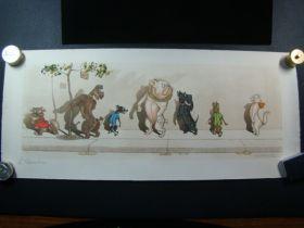 1930's Boris O'Klein Dirty Dogs Of Paris L' Etourdie Signed Color Print