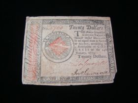 1779 Continental Currency $20.00 Note Fine CC-92