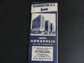 Vintage Washington D.C. Guide Hotel Annapolis Advertising Pamphlet