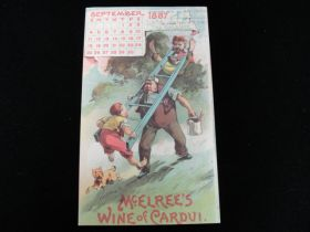 1887 McElree's Wine of Cardui of Amnicola TN Victorian Trade Card Sept Calendar