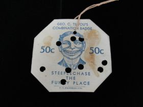 Vintage 1920's Steeplechase the Funny Place Coney Island Combination Badge