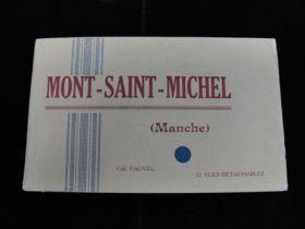 Vintage Mont Saint Michel (Manche) French Postcard Book 8 Postcards