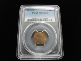 1929-S Lincoln Cent PCGS Graded MS63 RB