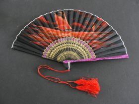 Vintage Japanese Hand Painted Fan Ship at Sunset