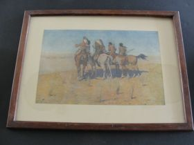 """""""The Pioneers"""" By Frederic Remington Original 1904 P. F. Collier & Co. Print"""