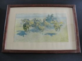 """""""Downing The Nigh Leader"""" By Frederic Remington Copr. P. F. Collier & Son Print"""