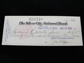 1908 The Silver City National Bank Silver City NM Cancelled Check