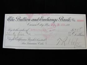 1894 The Bullion And Exchange Bank Of Carson City, Nevada Cancelled Check