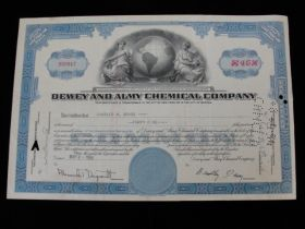 1954 Dewey and Almy Chemical Company of Boston, Mass Cancelled Stock Certificate