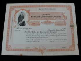 Vintage Franklin Realty and Construction Company of NJ Unused Stock Certificate