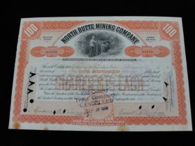 1909 North Butte Mining Company of Minnesota Canceled Stock Certificate