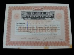 1906 The Connecticut Fire Insurance Company of Hartford, CT Stock Certificate