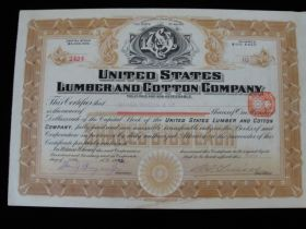 1912 United States Lumber and Cotton Company of Maine Stock Certificate