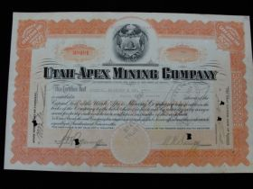 1924 Utah Apex Mining Company Canceled Stock Certificate
