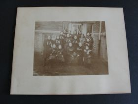C 1890's Early American Football Women's High School Team Large Cabinet Photo