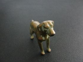 "Antique Bronze Tone Miniature Dog Figurine 2 x 1 3/4"""