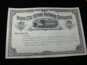 1880's Rome City Street Railway Company Stock Certificate