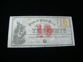 1862 Bank Of Black River Ludlow Vermont 10 Cents Banknote Uncirculated