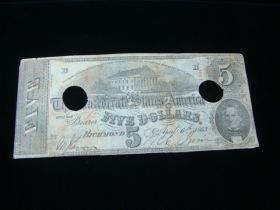 1863 Confederate States Of America $5.00 Banknote Fine Punch Holes T-60