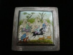 Antique Original Persian Miniature Painting on Silver Decorated Box