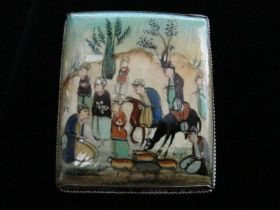 Antique Original Persian Miniature Painting on Square Silver Brooch Pin