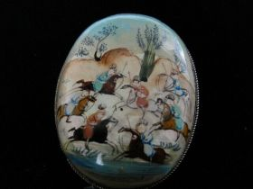 Antique Original Persian Miniature Painting on Round Silver Brooch Pin